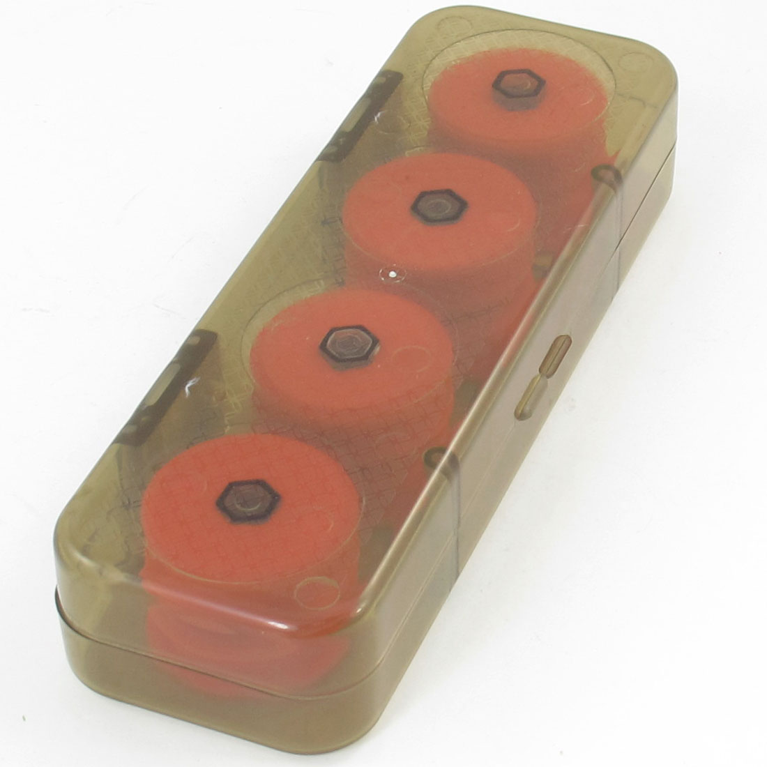 8 Pcs Red Foam Fishing Line Bobbin Spools w Olive Green Plastic Storage Case