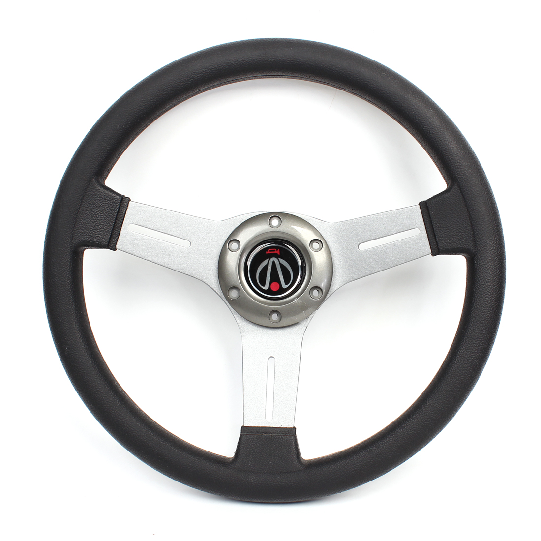 33.5cm Dia Faux Leather Coated 6 Holes Bolt on Driving Steering Wheel Gray