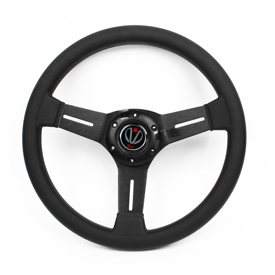 Vehicle Car 33.5cm Dia Faux Leather Coated Interior Racing Steering Wheel Black