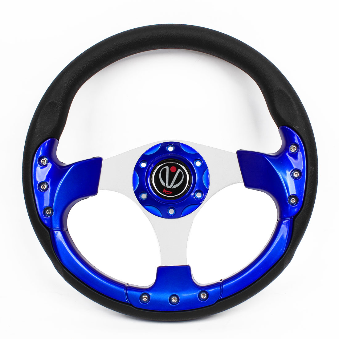 Royal Blue Black 6 Holes Bolt on Driving Steering Wheel 32cm Dia for Auto