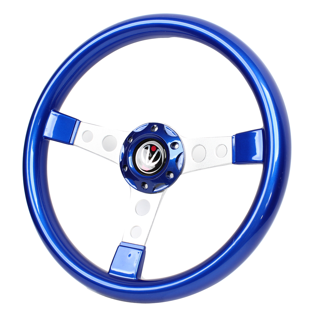 Royal Blue Plastic 6 Holes Bolt on Steering Wheel 34.5cm Dia for Car