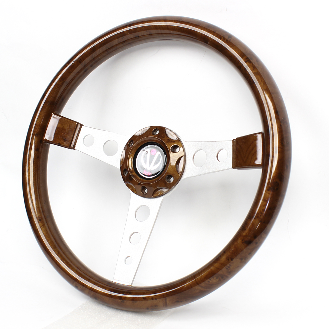 34.5cm Dia Brown Plastic Antislip Racing Steering Wheel for Car