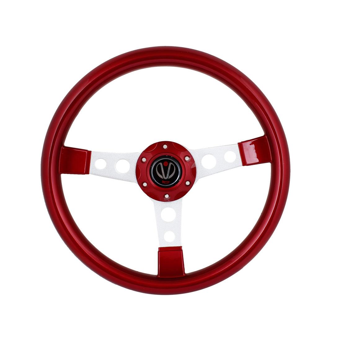 34.5cm Dia Red Plastic Nonslip Racing Steering Wheel for Car