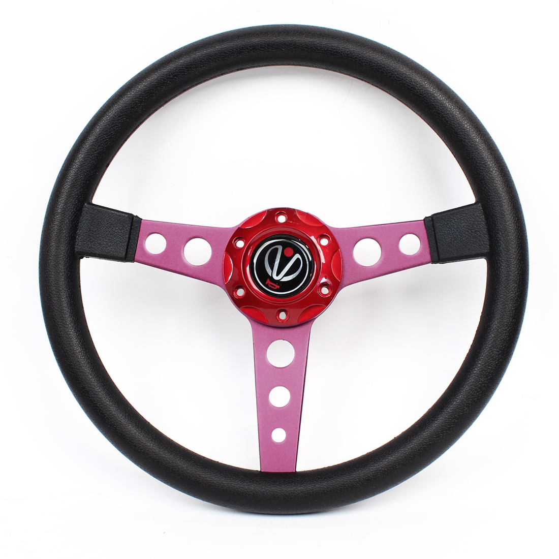 34.5cm Dia Faux Leather Coated Nonslip Racing Steering Wheel Red for Car Truck