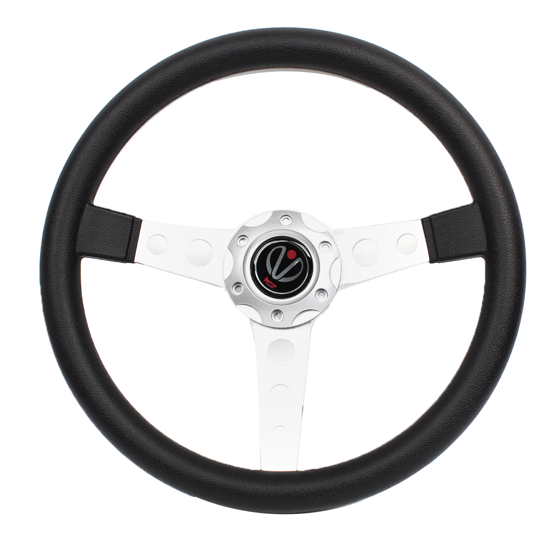 Vehicle Car Faux Leather Coated 6 Hole Bolt on Racing Steering Wheel Silver Tone