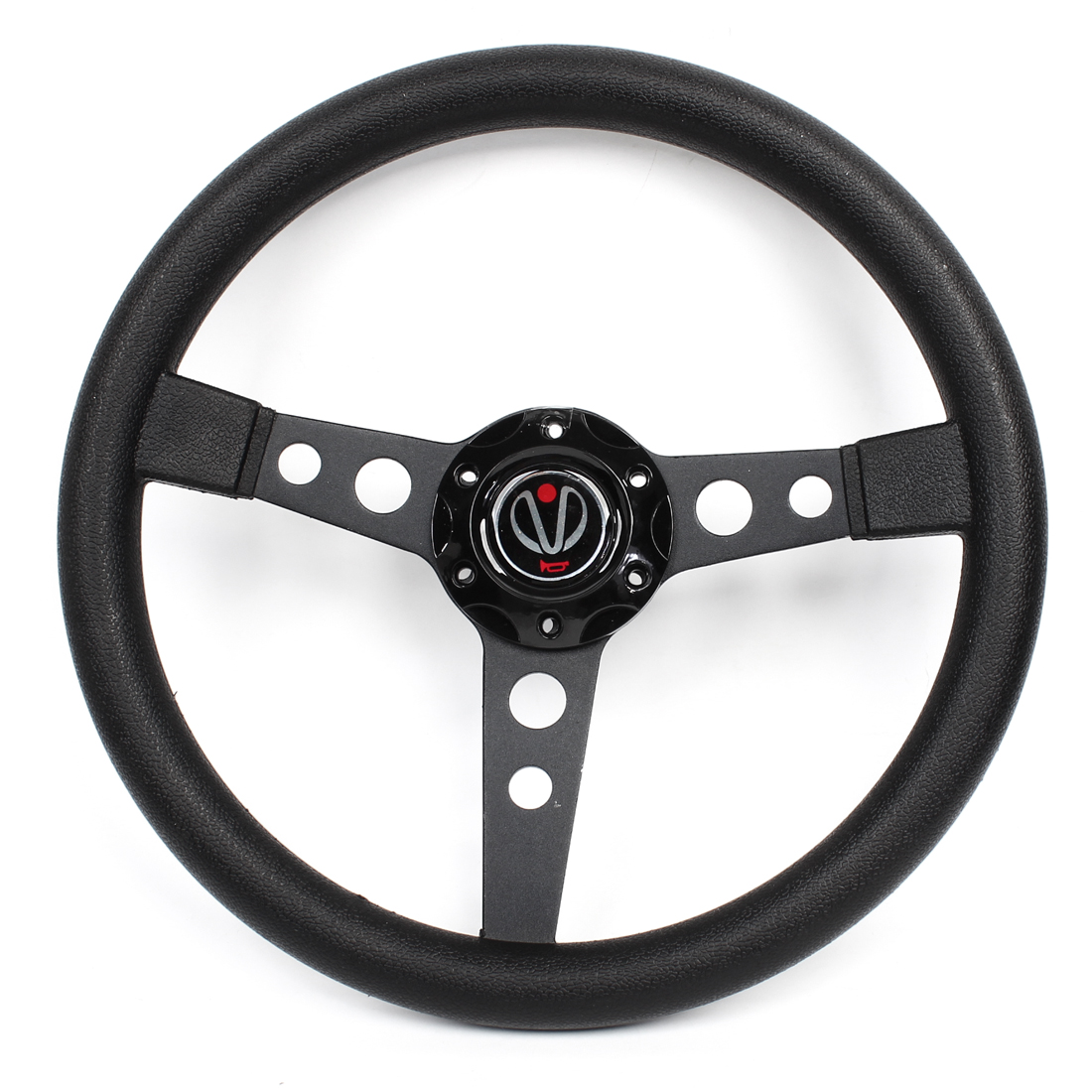 Black Faux Leather Wrapped 34.5cm Dia Racing Steering Wheel for Car