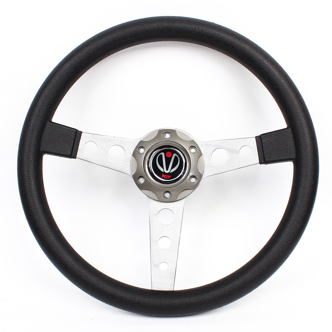 "Gray Universal 13.6"" Dia Faux Leather Coated 6 Holes Bolt on Steering Wheel"