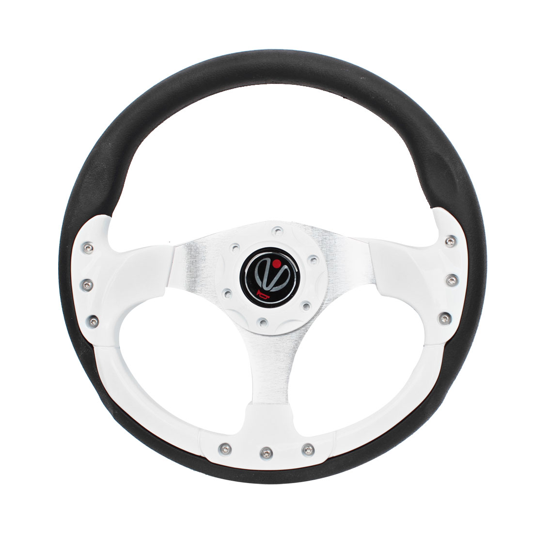 White Black Faux Leather Plastic Racing Steering Wheel 32cm Dia for Auto