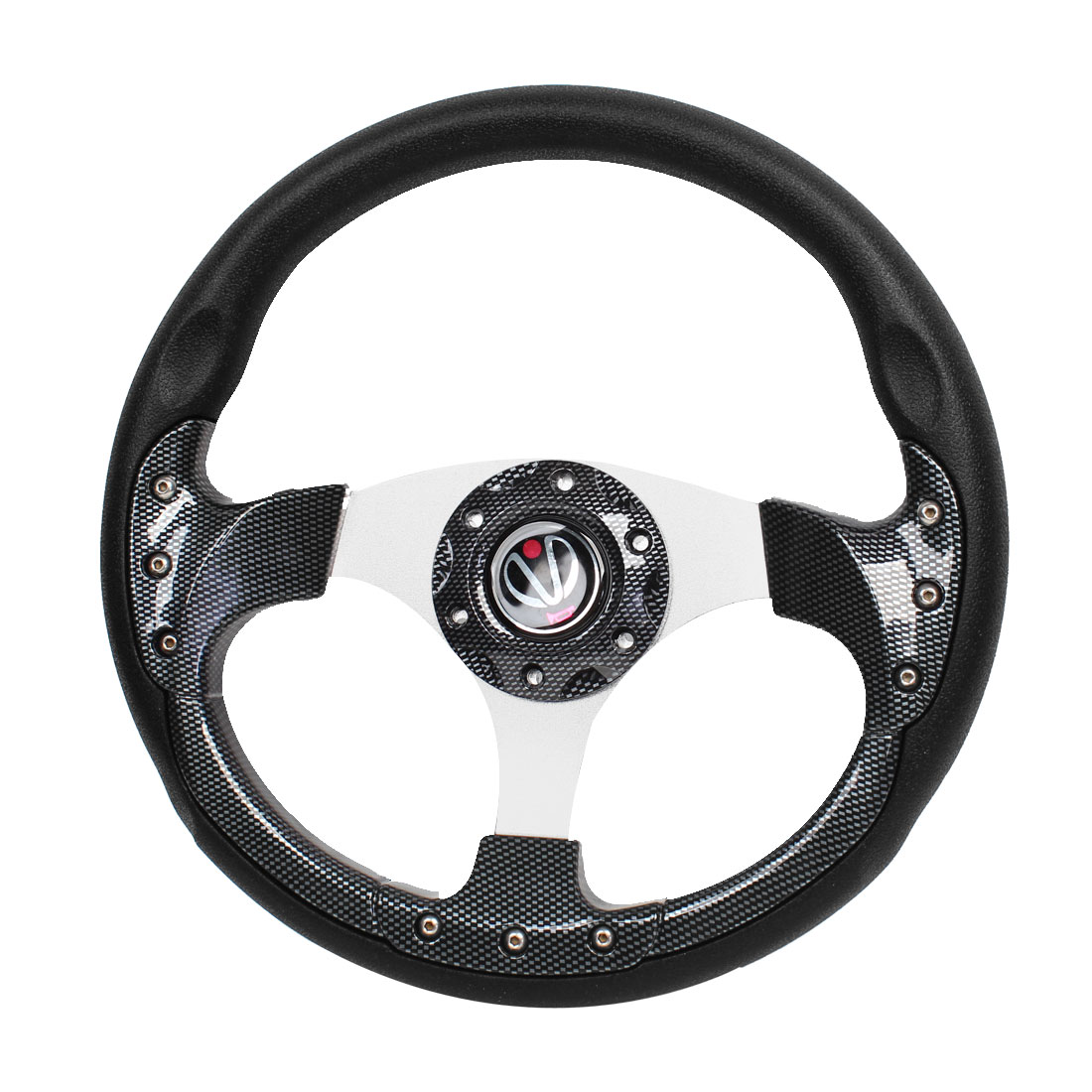 32cm Dia Carbon Fiber Pattern Faux Leather Coated Steering Wheel for Car