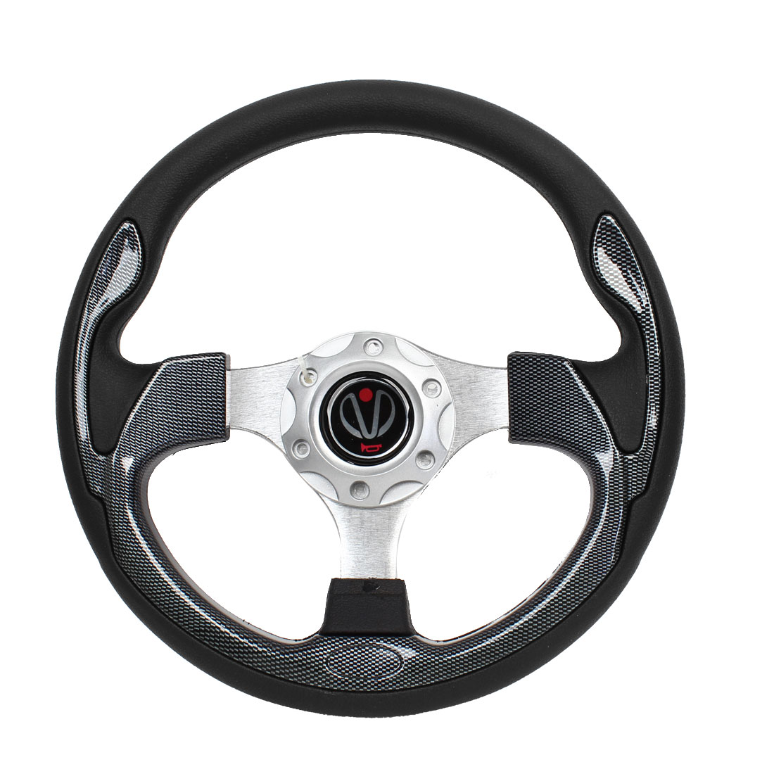 Carbon Fiber Pattern Faux Leather Coated Steering Wheel 31cm Dia for Auto