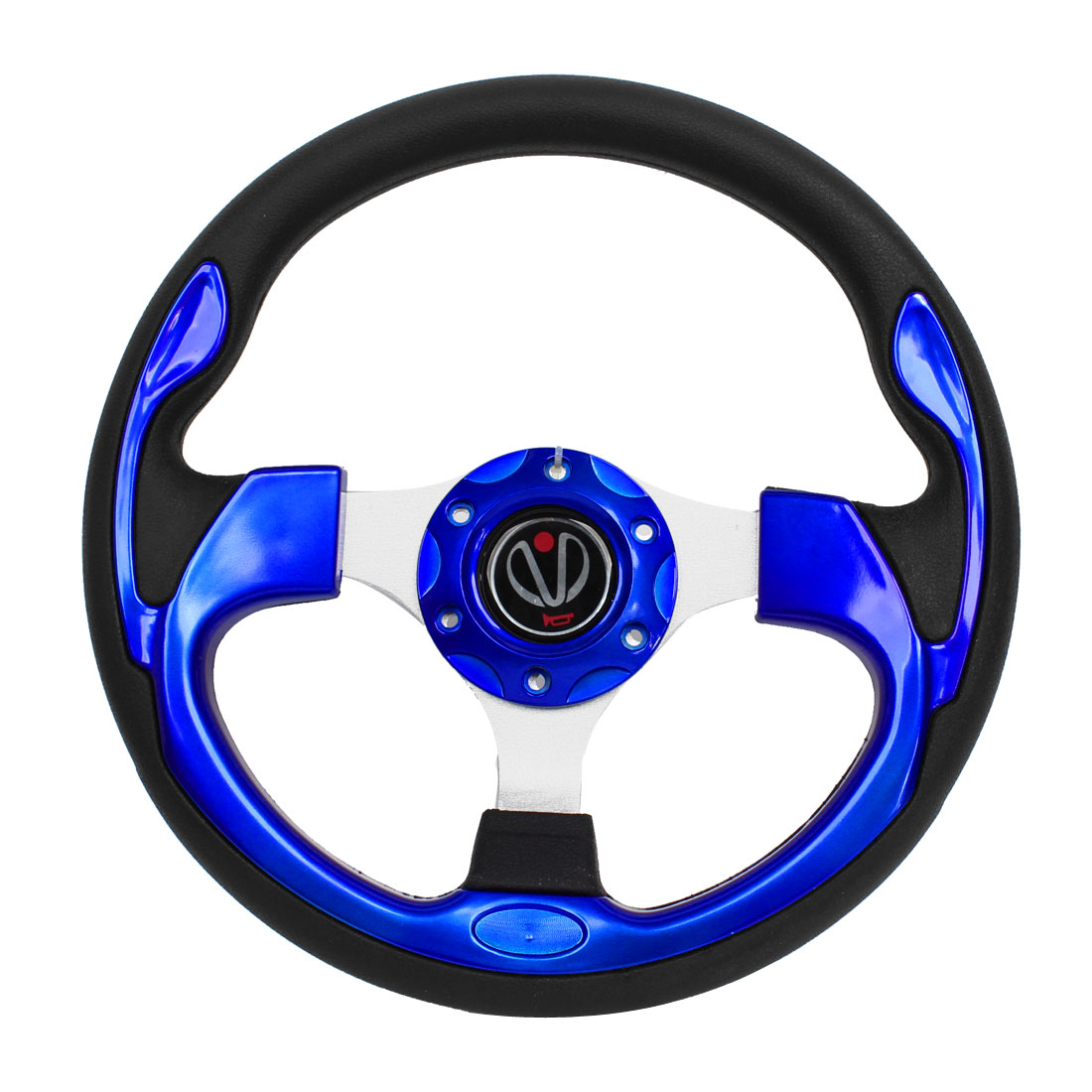 30cm Dia Faux Leather Coated Nonslip Steering Wheel Royal Blue Black for Car