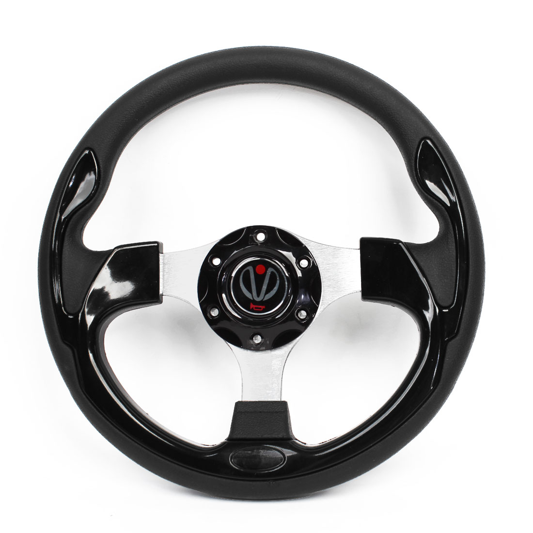 30cm Dia Black Faux Leather Coated Antislip Racing Steering Wheel for Auto