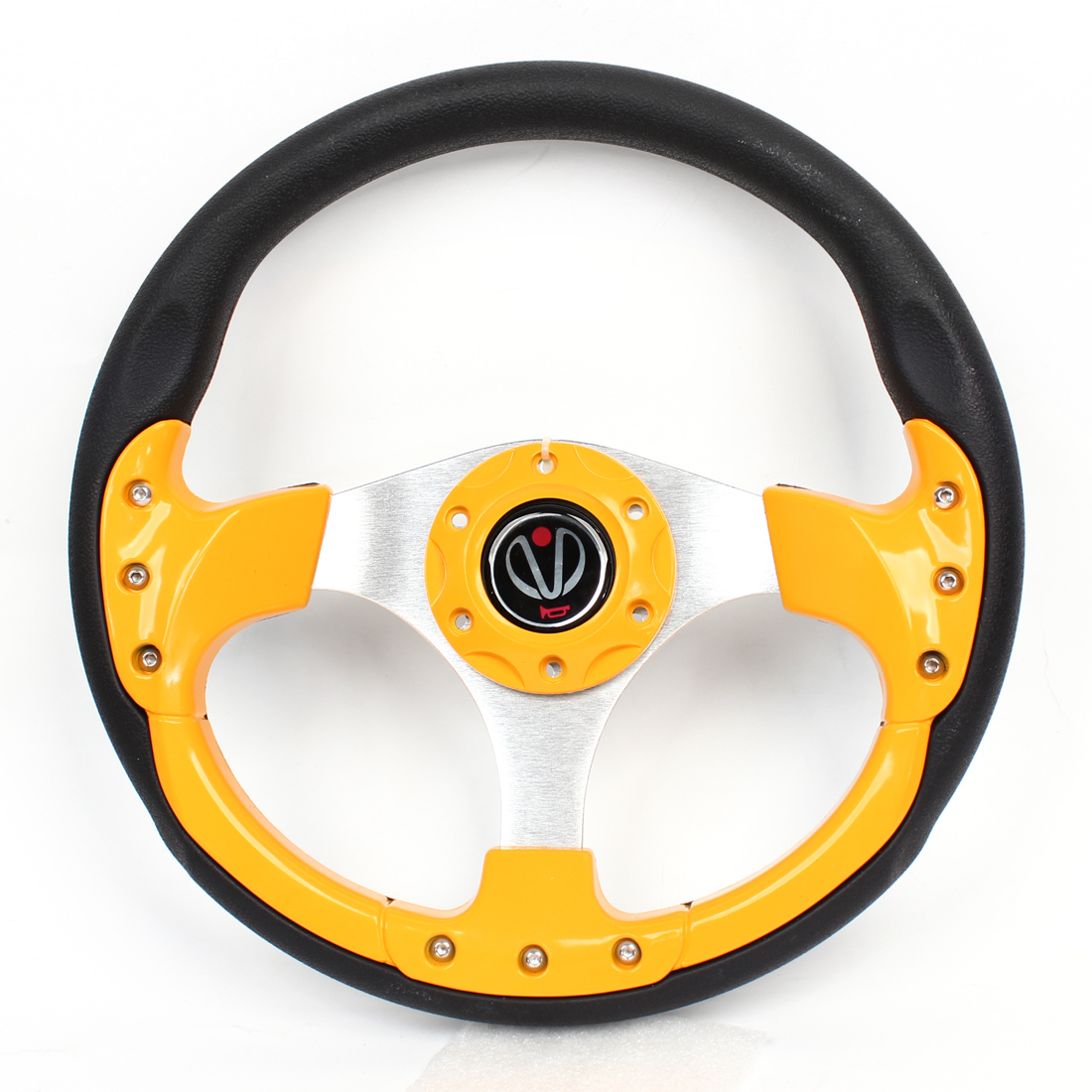 32cm Dia Faux Leather Wrapped Antislip Steering Wheel Yellow Black for Auto