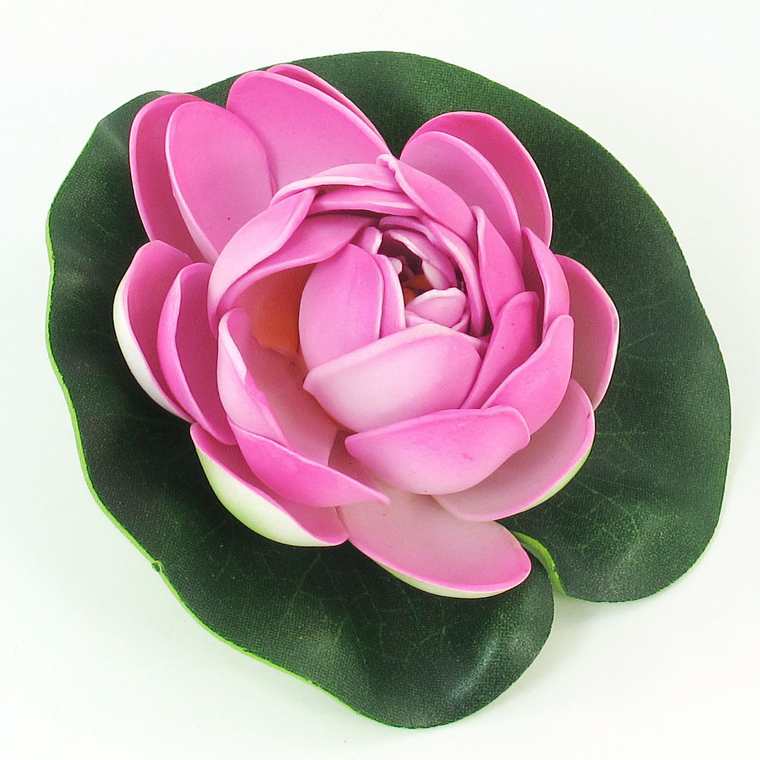 Foam Fuchsia Flower Green Leaf Lotus Ornament Decoration for Aquarium