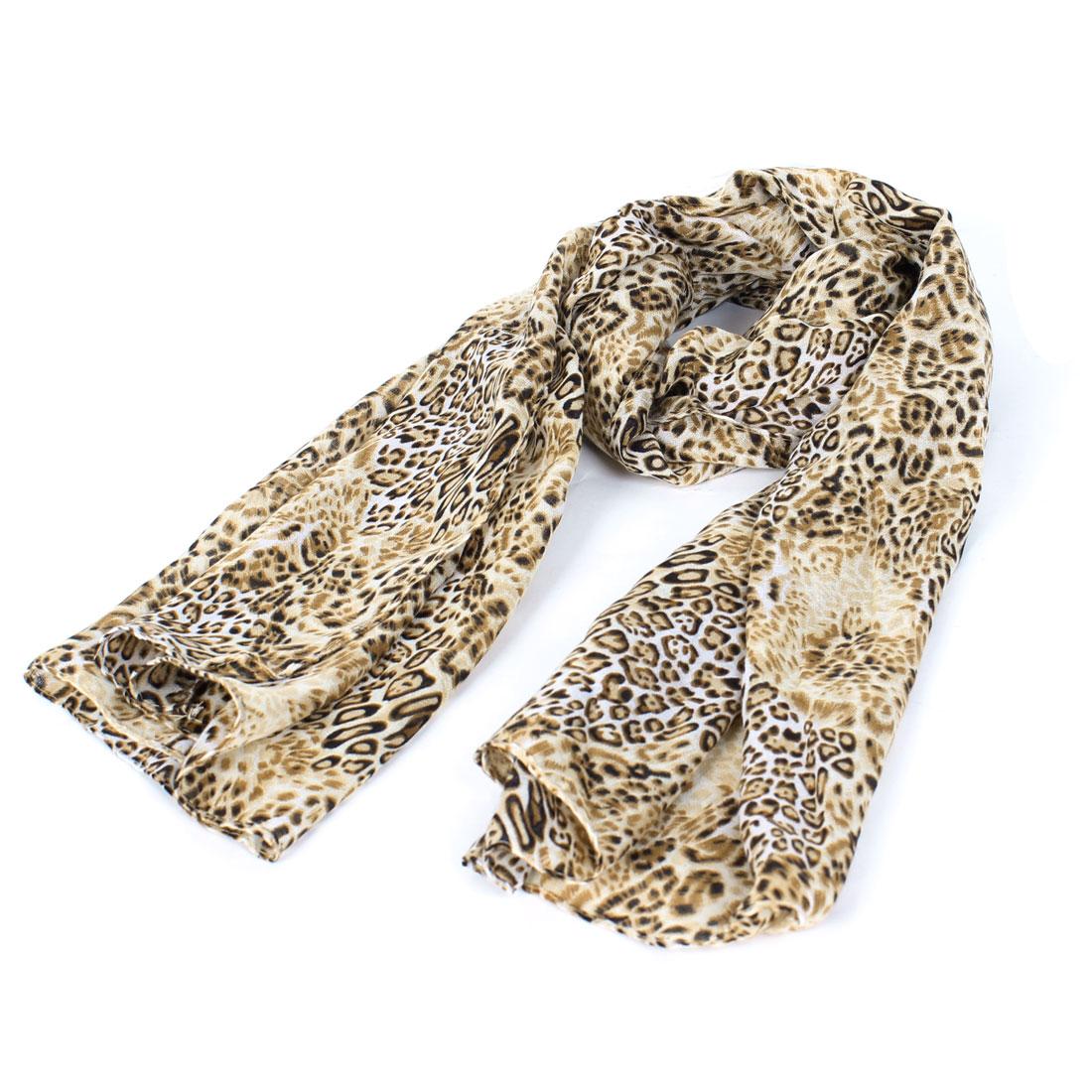 Lady Leopard Printed Rectangular Thin Scarf Wrap Brown Beige