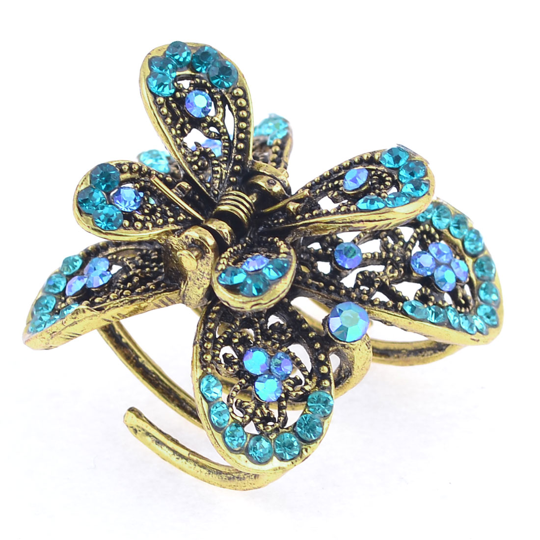 Faux Rhinestone Decor Double Butterfly Shape Bronze Tone Hair Claw for Women