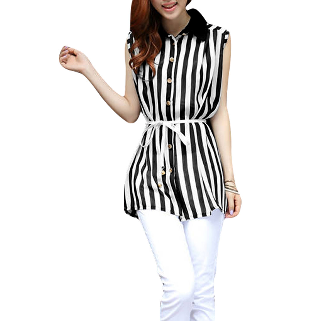 Lady Point Collar Button Up Stripes Pattern Semi-sheer White Black Long Shirt S