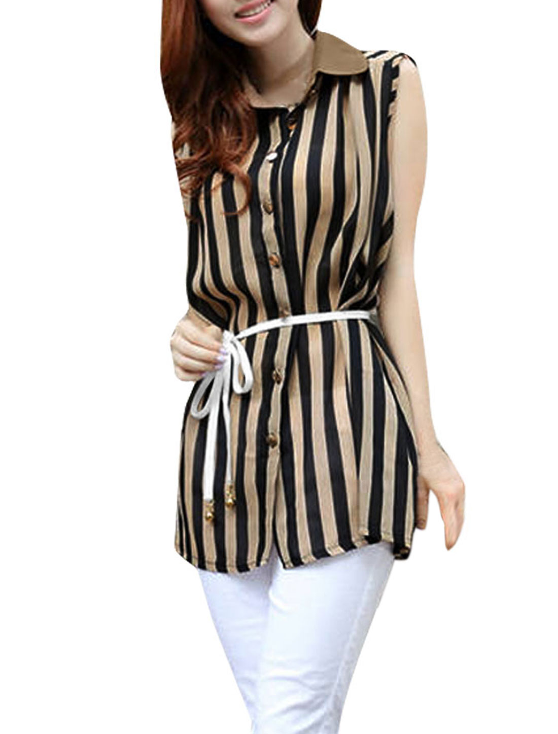 Lady Fashion Chiffon Stripes Printting Sleeveless Irregular Hem Shirt Khaki Black S