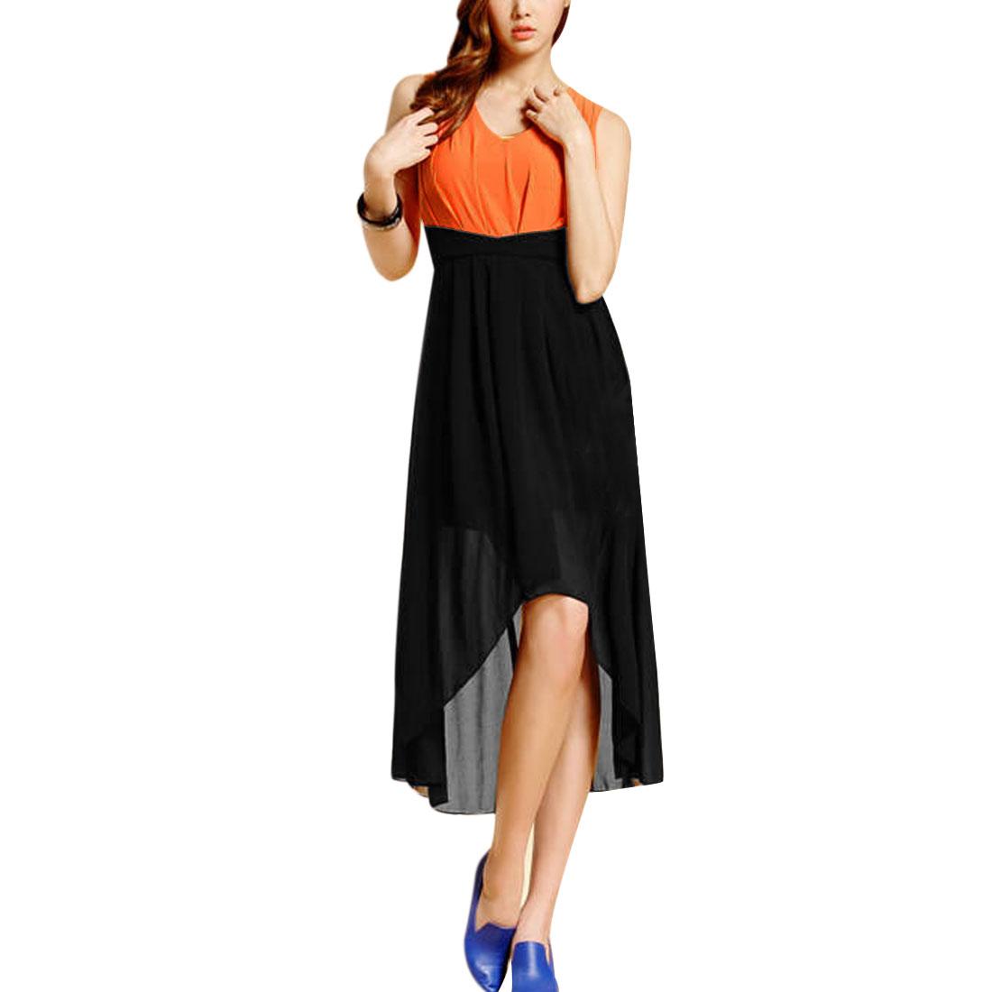 Ladies V Neck Panel Casual Dress Orange Black XS