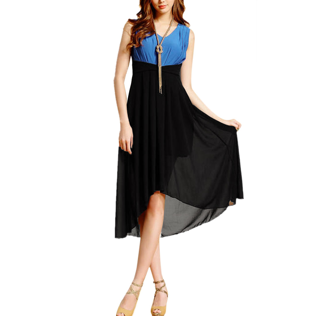 Ladies V Neck Sleeveless Low High Casual Dress Royal Blue Black XS