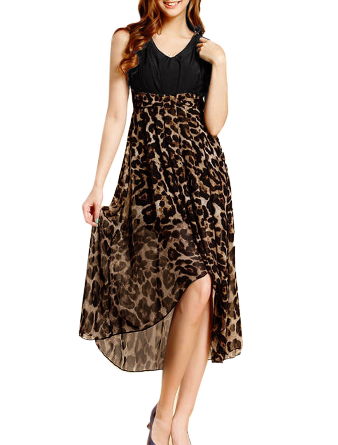 Ladies V Neck Pullover Sleeveless Leopard Prints Dress Sand Black XS