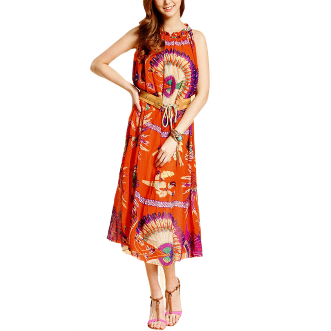 Ladies Boat Neck Belted Casual Dress Orange Red Purple S