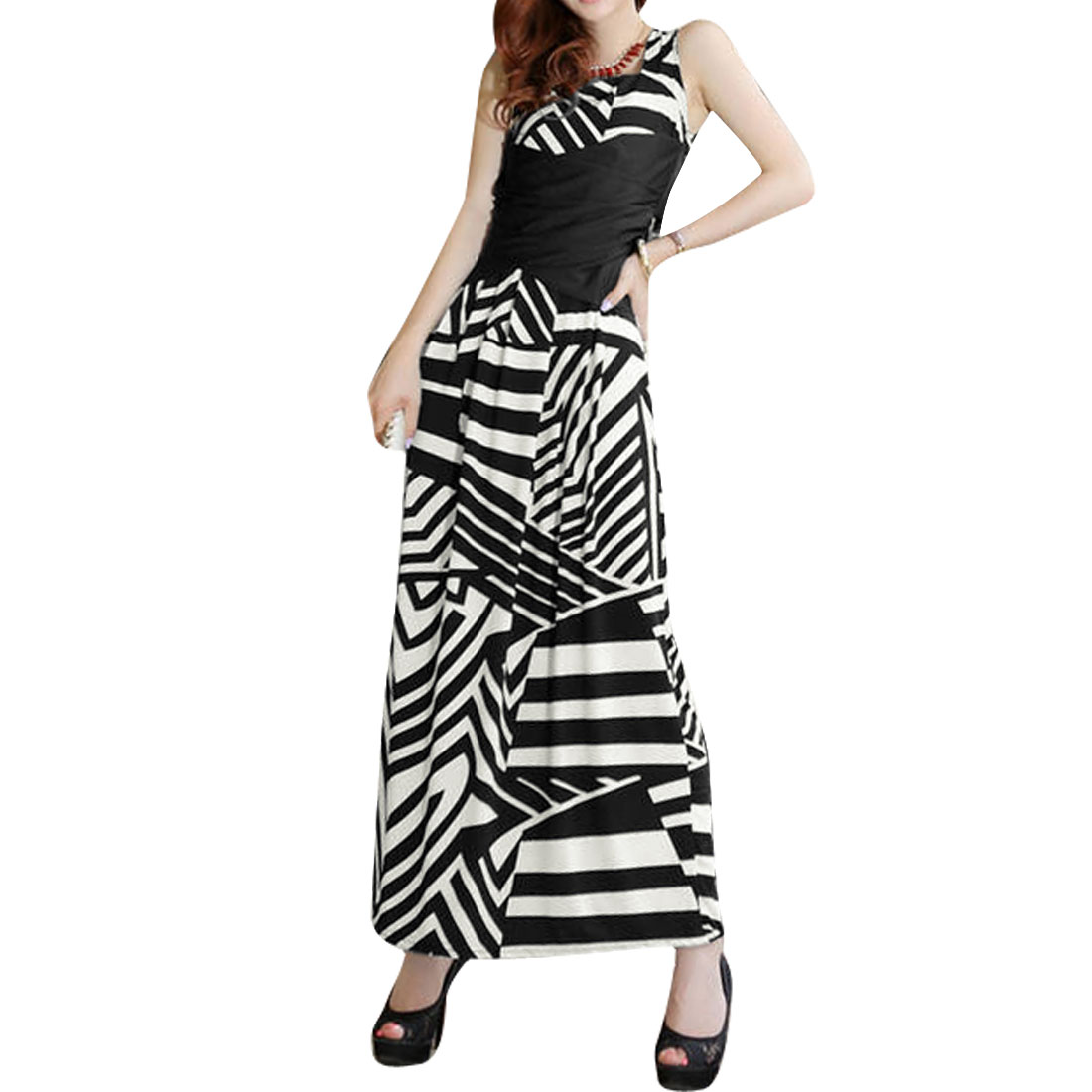 Women Stripes Pattern Square Neck Sleeveless Maxi Dress White Black S