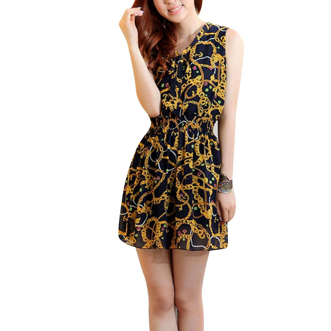 Women V Neck Color Block Sleeveless Design Dress Gold Navy Blue XS