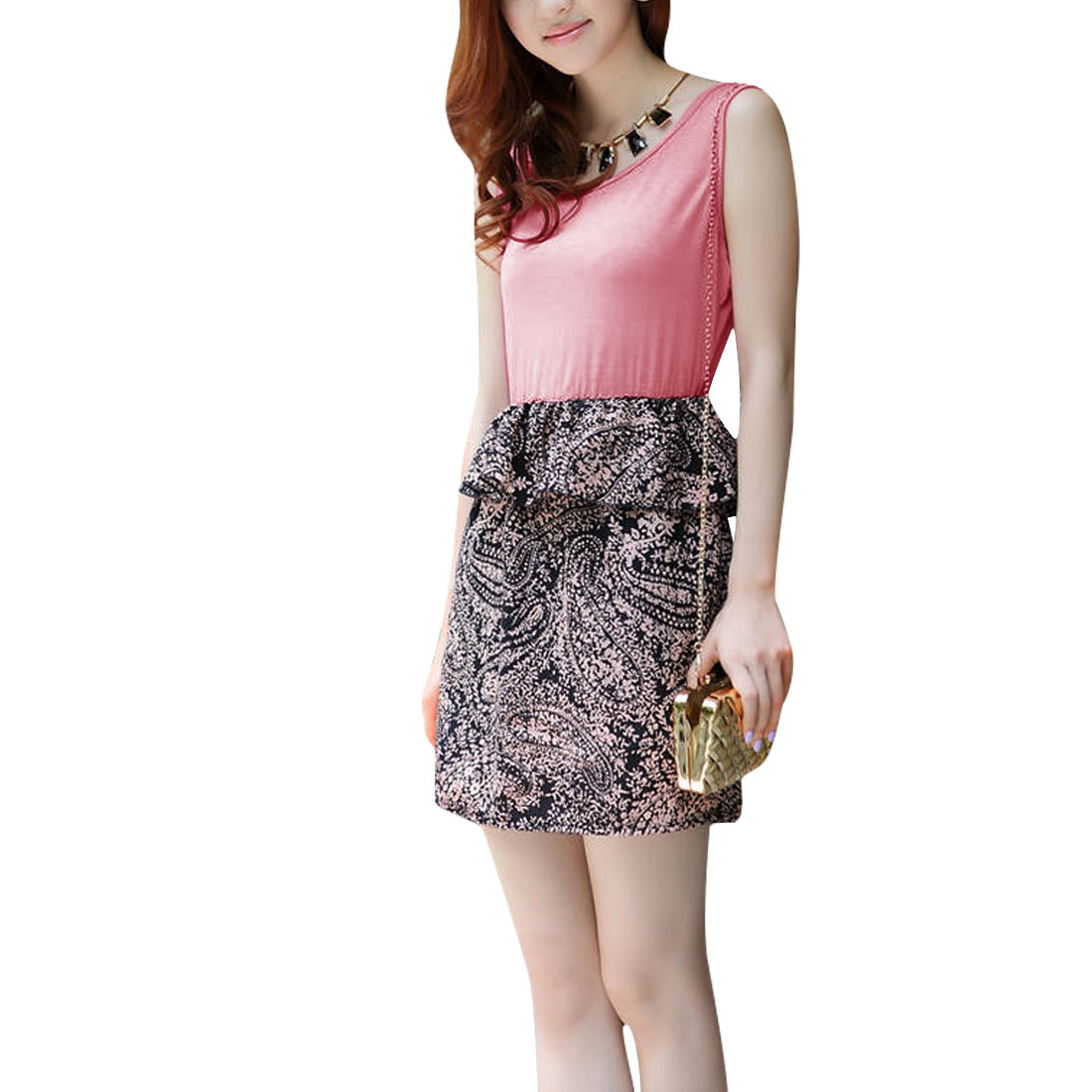 Lady Scoop Neck Paisleys Pattern Above Knee Dress Pink XS