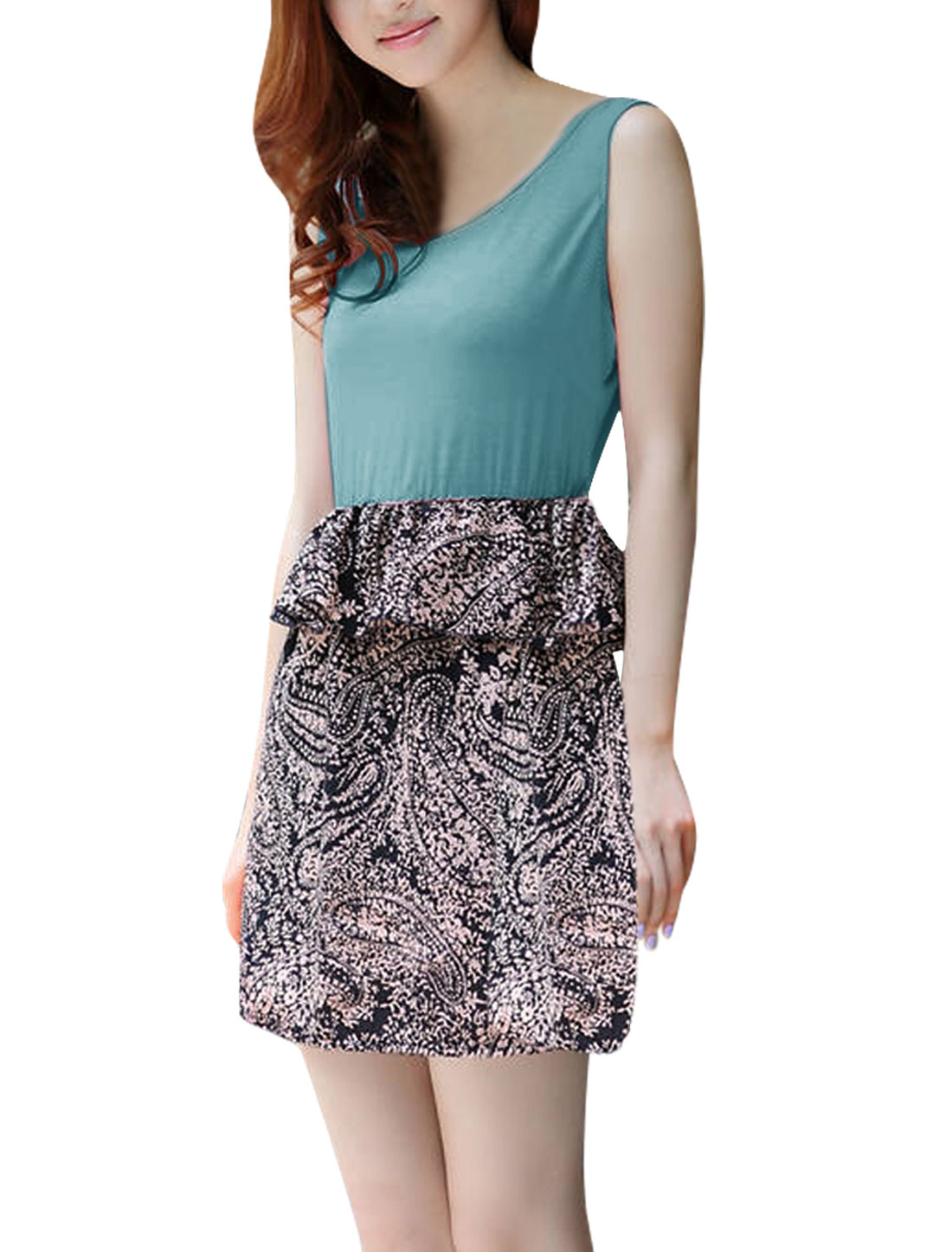 Lady Sleeveless Slim Fit Paisleys Prints Teal Blue Above Knee Dress XS