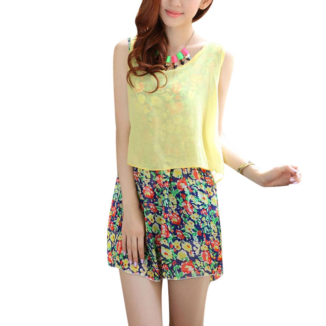 Women Round Neck Semi Sheer Pullover Top w Sleeveless Dress Yellow XS