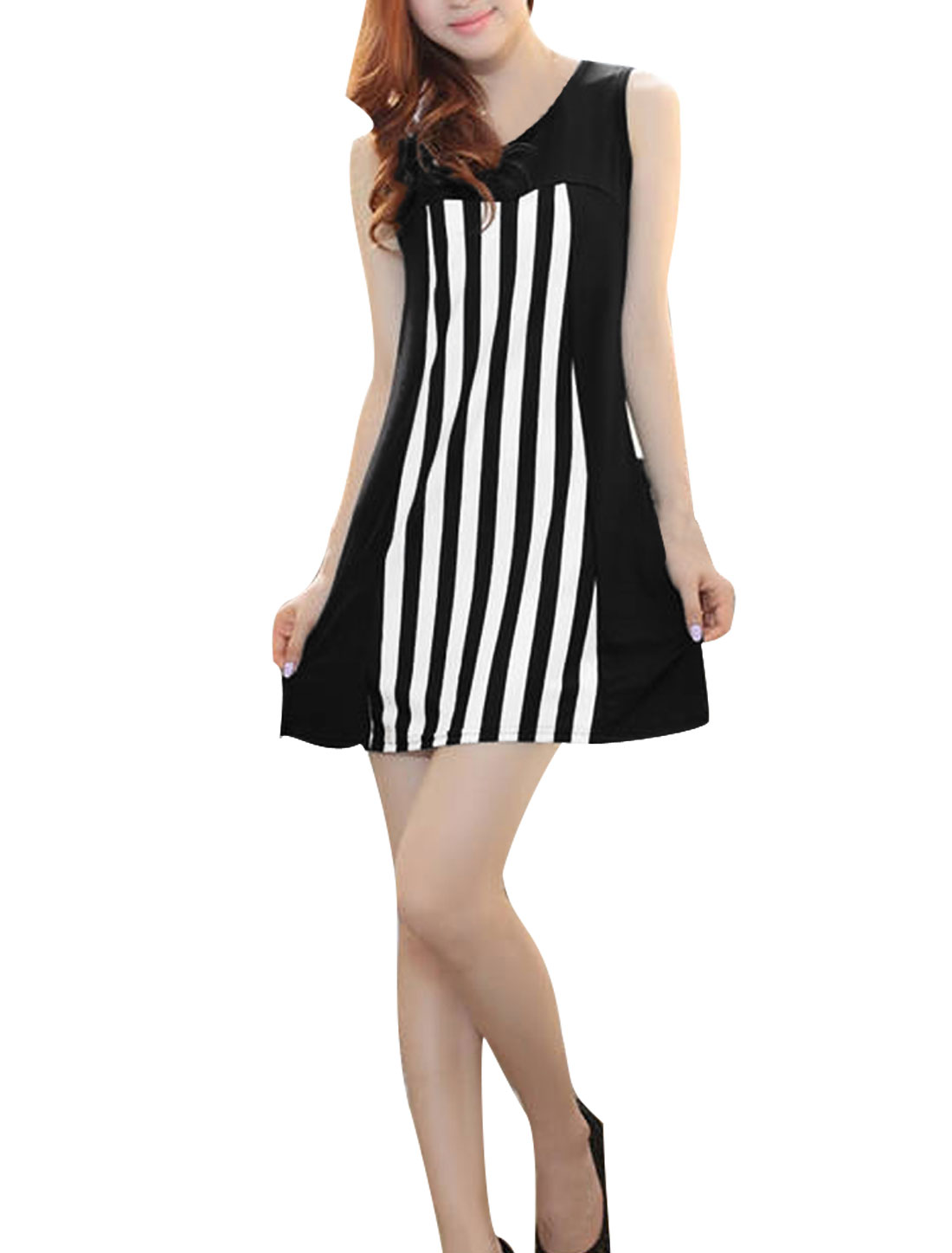 Lady Stylish Sleeveless Stripes Prints Elastic Black White Dress XS