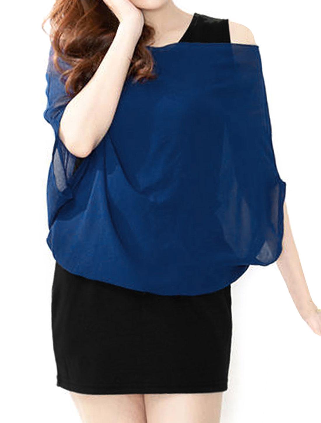Lady Scoop Neck Chiffon Splice Design Navy Blue Black Mini Dress XS