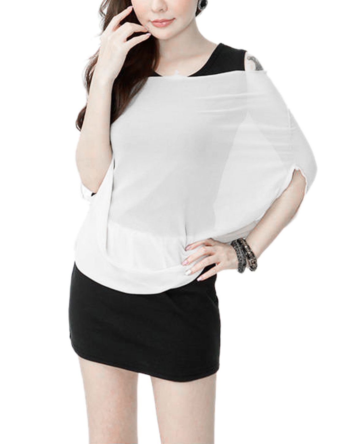 Lady Scoop Neck Straight Layered Dress White Black XS