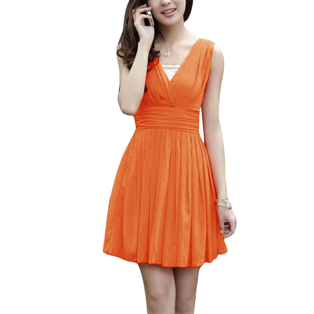 Ladies Deep V Neck Zip Up Back Sleeveless Pleated Dress Orange XS