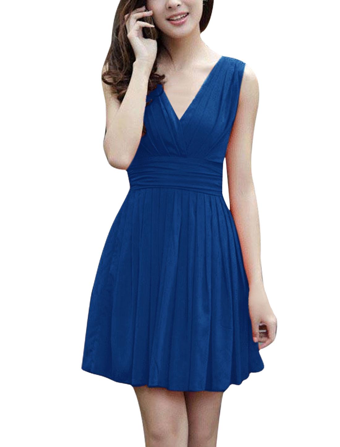 Ladies Deep V Neck Zip Up Back Sleeveless Dress Royal Blue XS