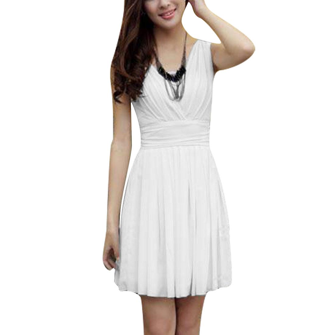 Ladies Deep V Neck Zip Up Back Sleeveless Lining Dress White XS