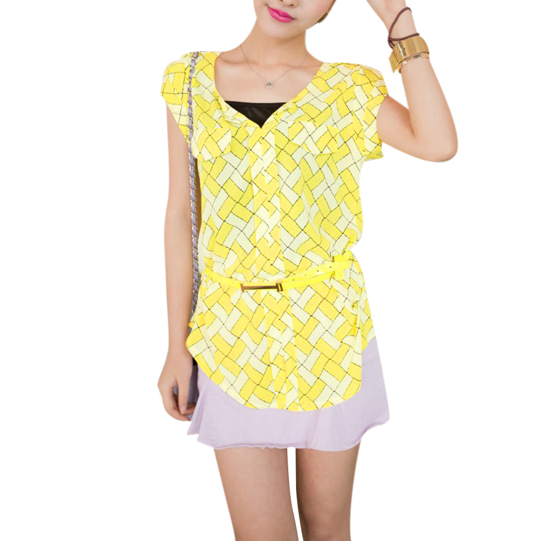 Ladies Geometric Pattern Round Hem Design Leisure Blouse Yellow S