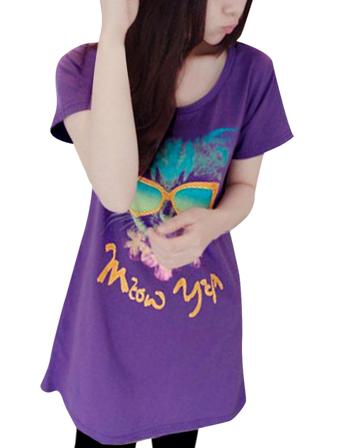Women New Fashion Purple Color Cartoon Cat Prints Tunic T-Shirt XS