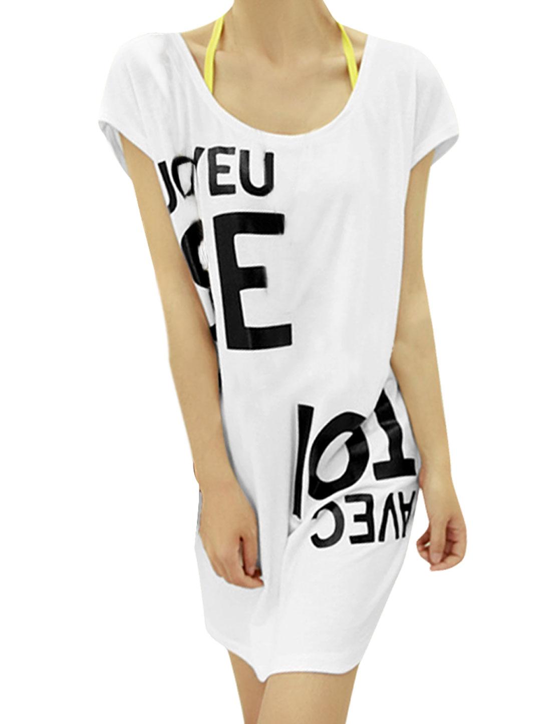 Back Zip Dolman Sleeve Style Women Fashionable Dress White M