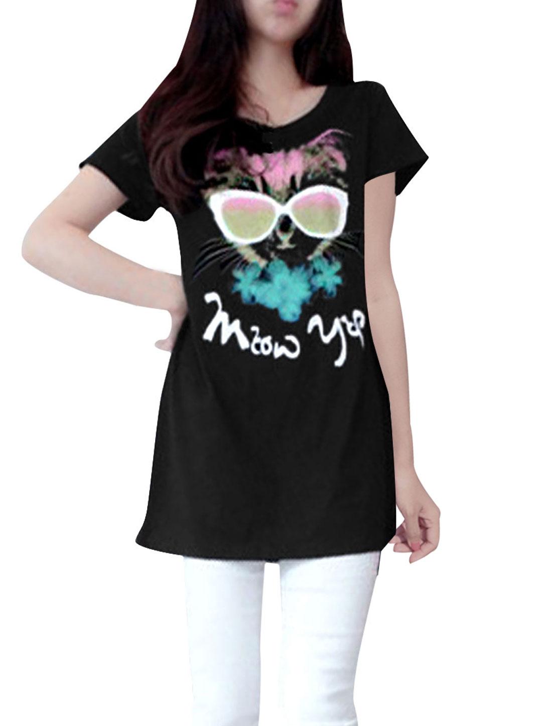 Ladies Chic Round Neck Short Sleeve Cartoon Cat Pattern Black Tunic Shirt XS