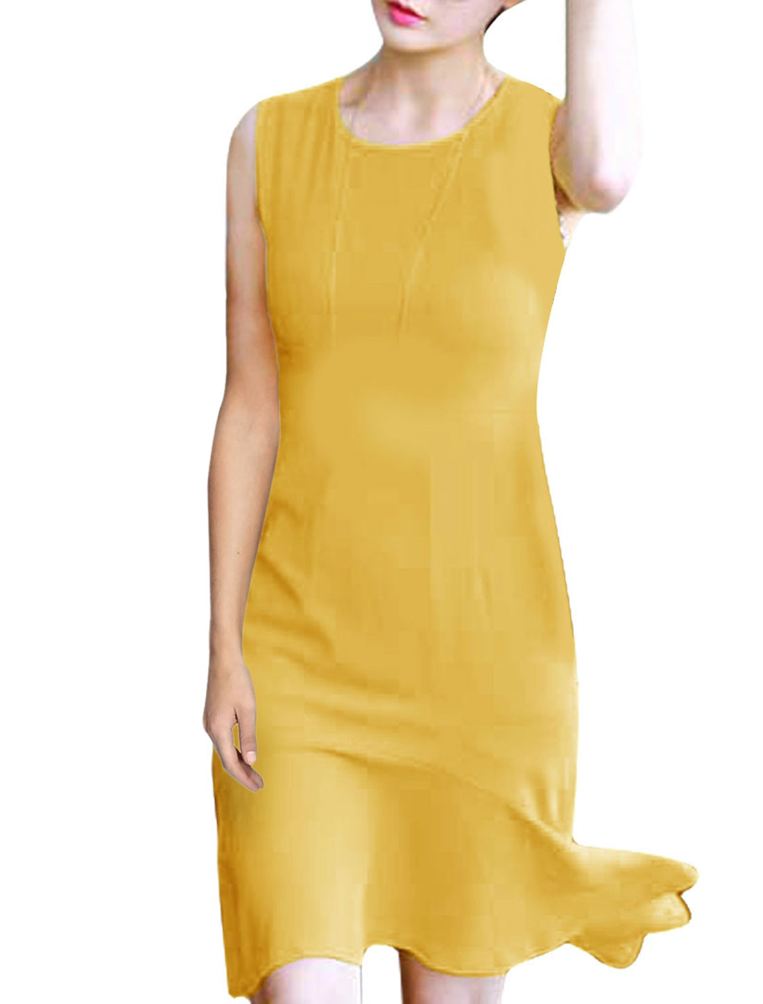 Women Pullover Sleeveless Round Neck Style High Low Hem Dress Yellow XS