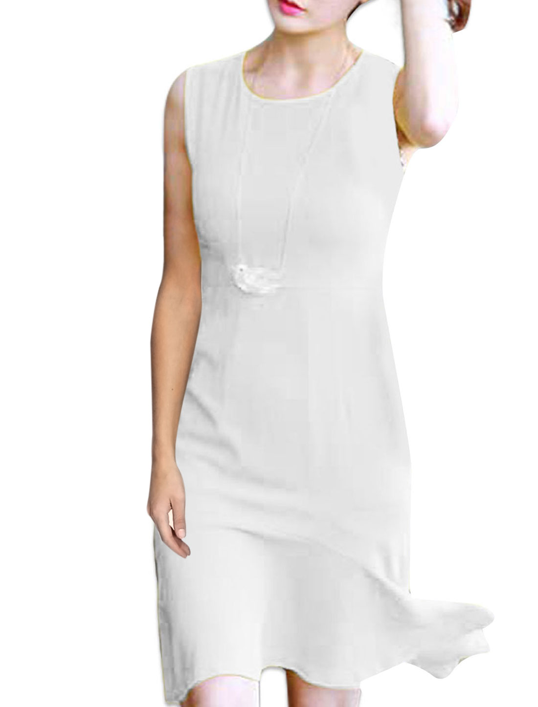 Ladies Slim Fit Round Neck Summer Fashionable Irregular Hem Dress White XS