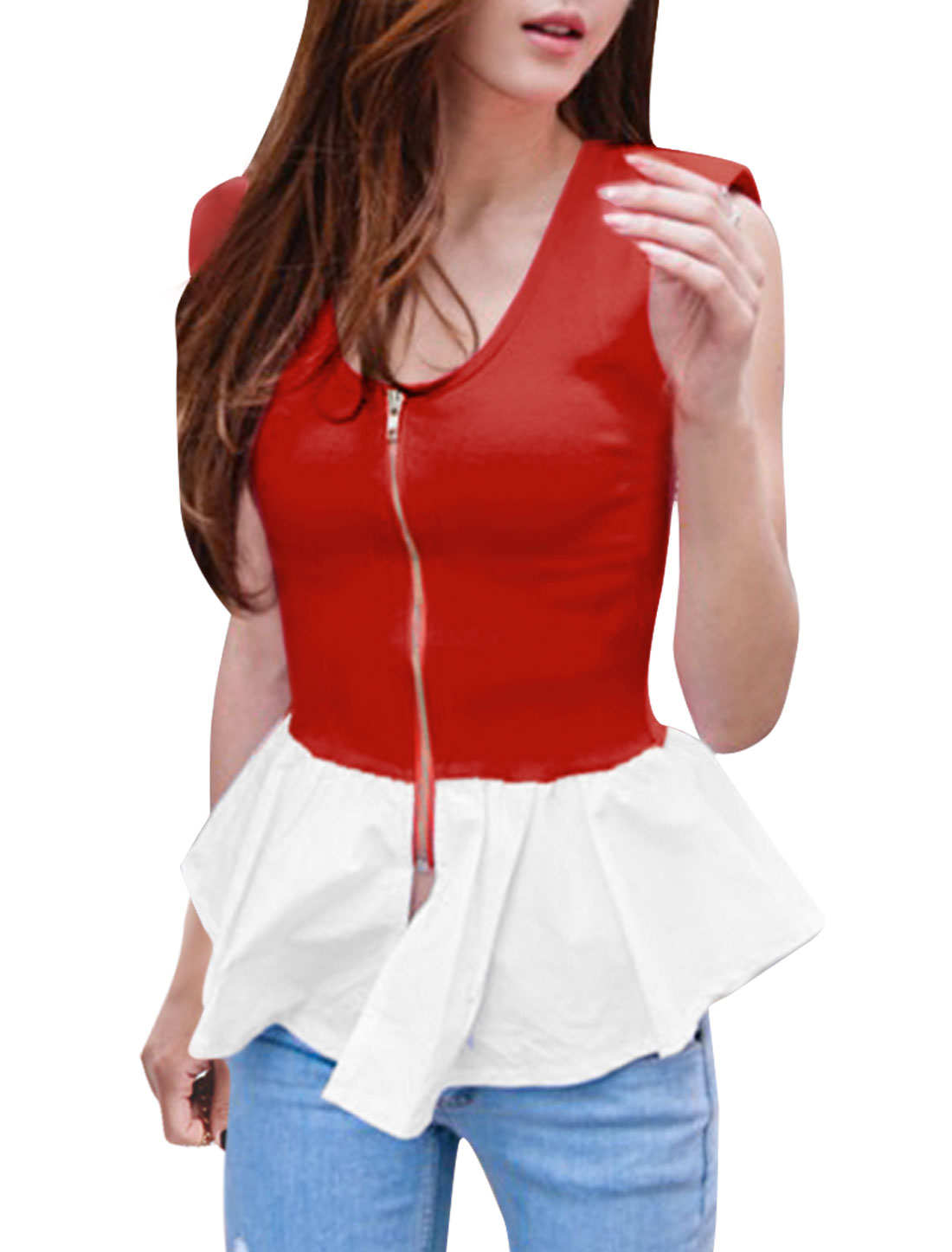Ladies Zip-Up Front Design Padded Shoulder Red White Splice Peplum Top XS