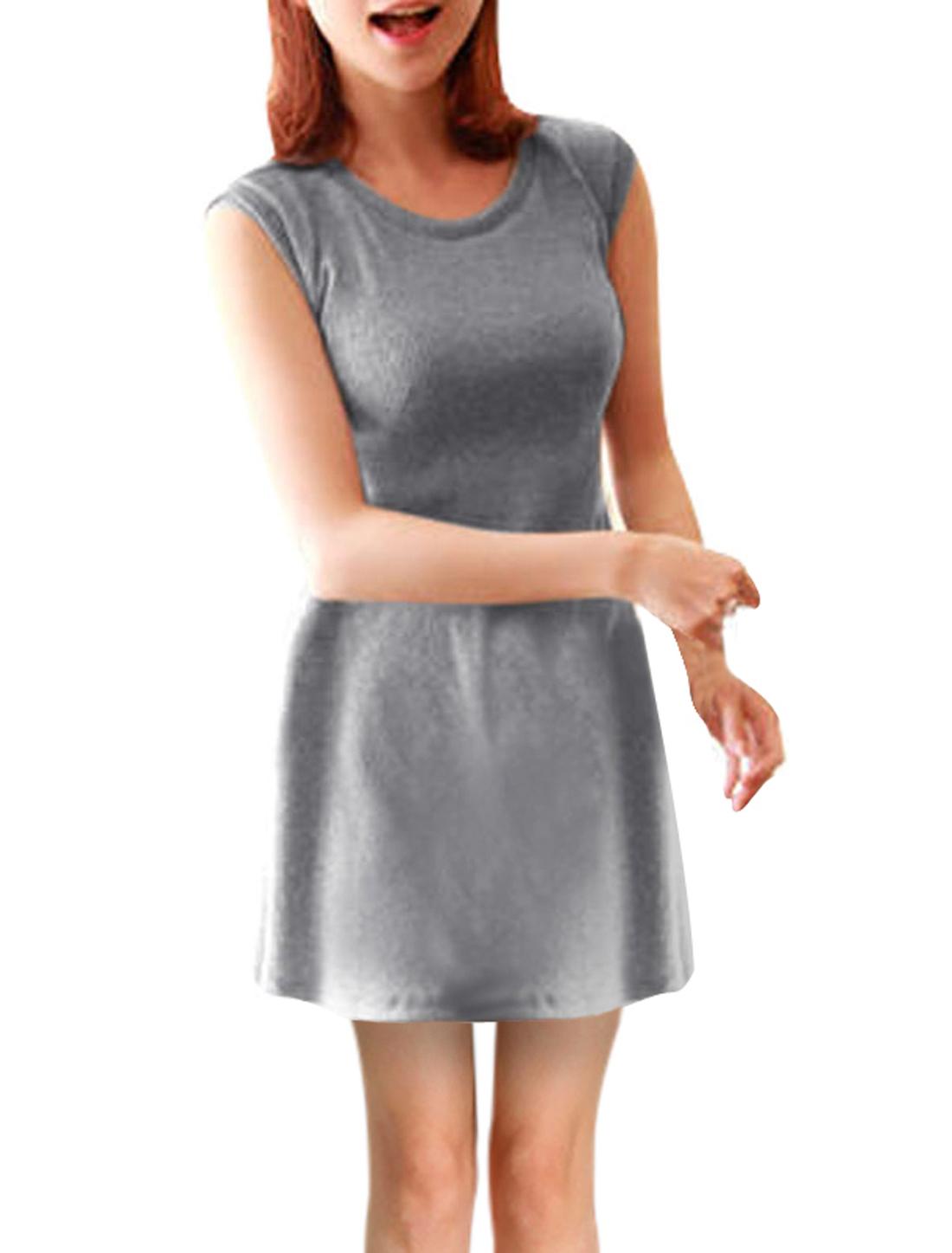 Women Slim Fit Round Neck Sleeveless Design Pullover Dress Grey XS