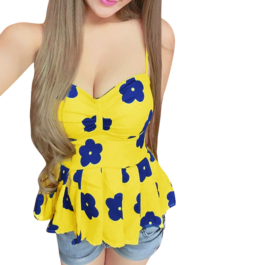 Woman Chic Sweetheart Padded Bust Floral Pattern Yellow Peplum Tank Top XS