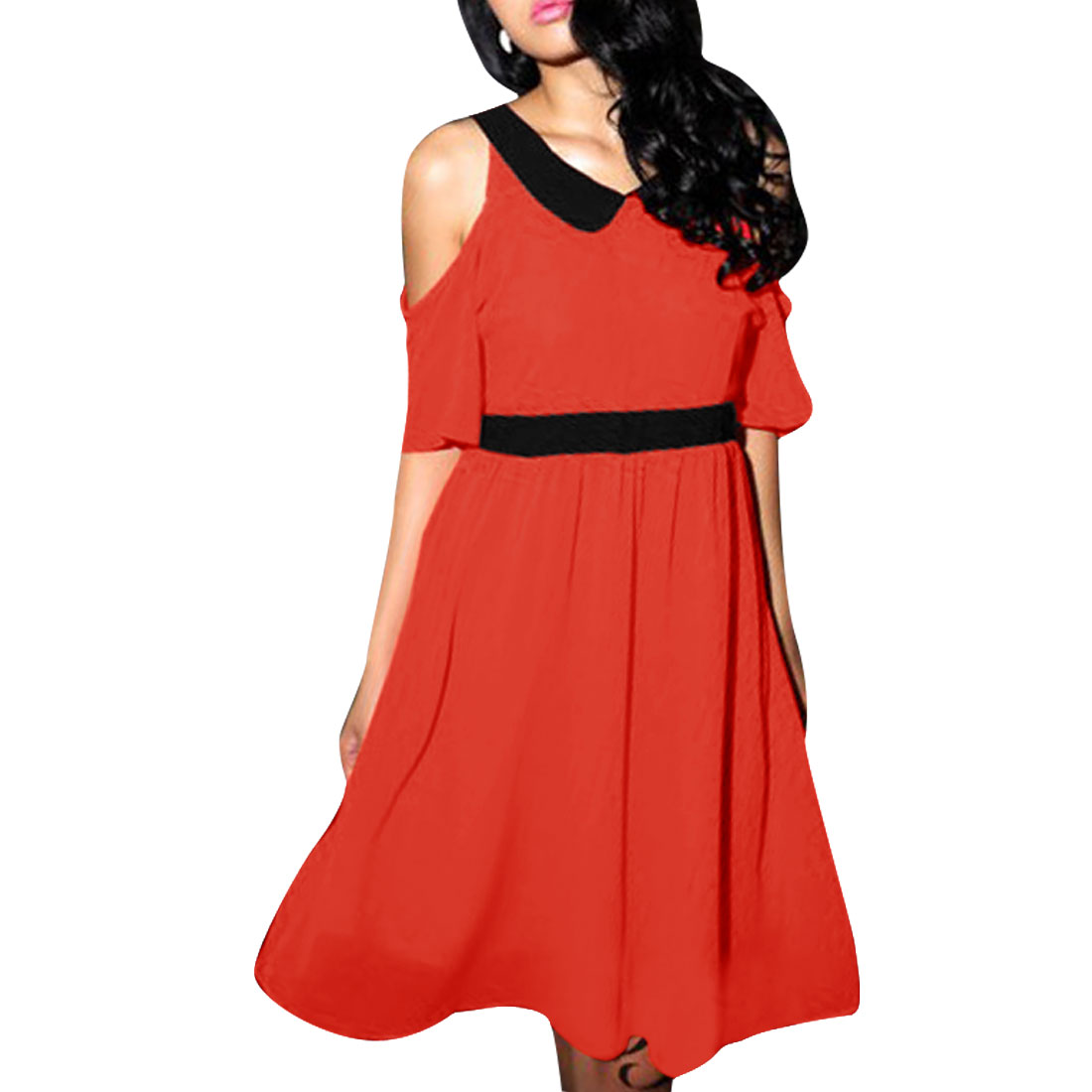 Women Cut Out Shoulder Peter Pan Collar Style Pullover Dress Orange Red XS