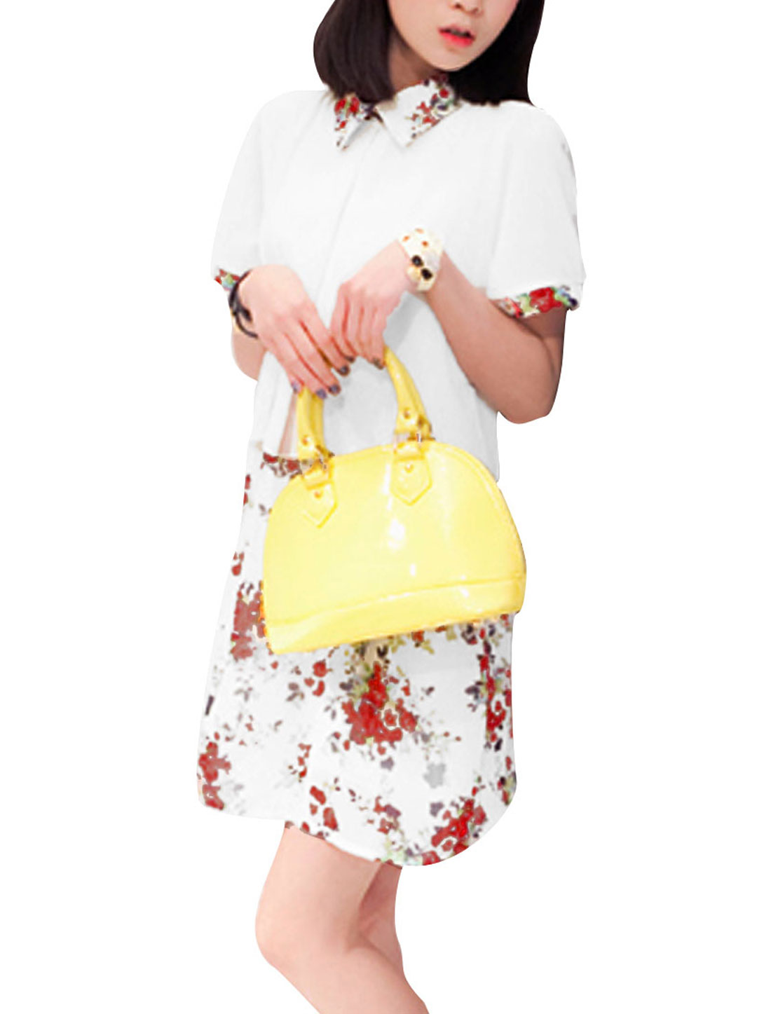 Ladies Doll Collar Short Sleeve White Top w Floral Pattern Mini Skirt XS