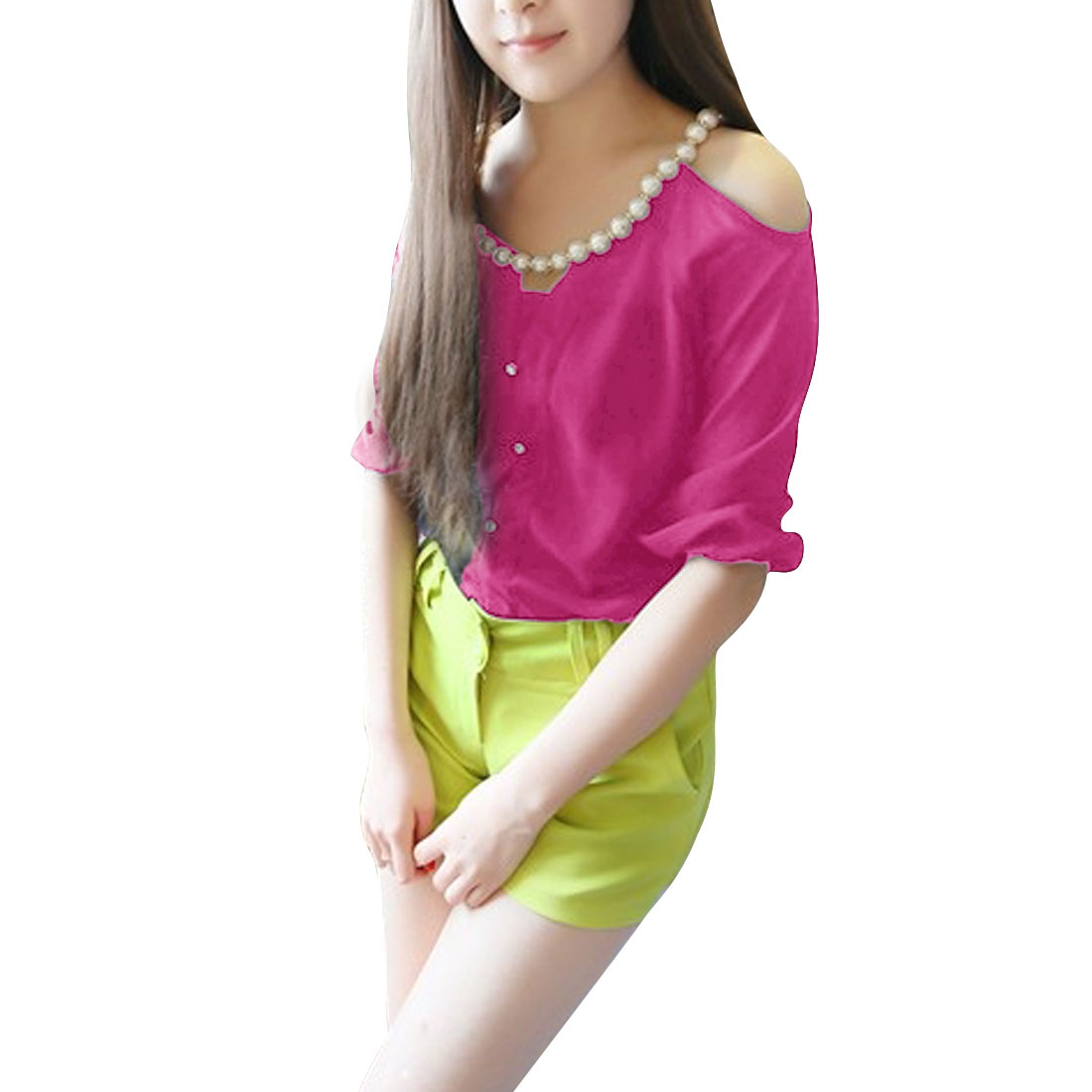 Woman Chic Plastic Pearl Chian Decor Half Sleeve Fuchsia Button Down Blouse