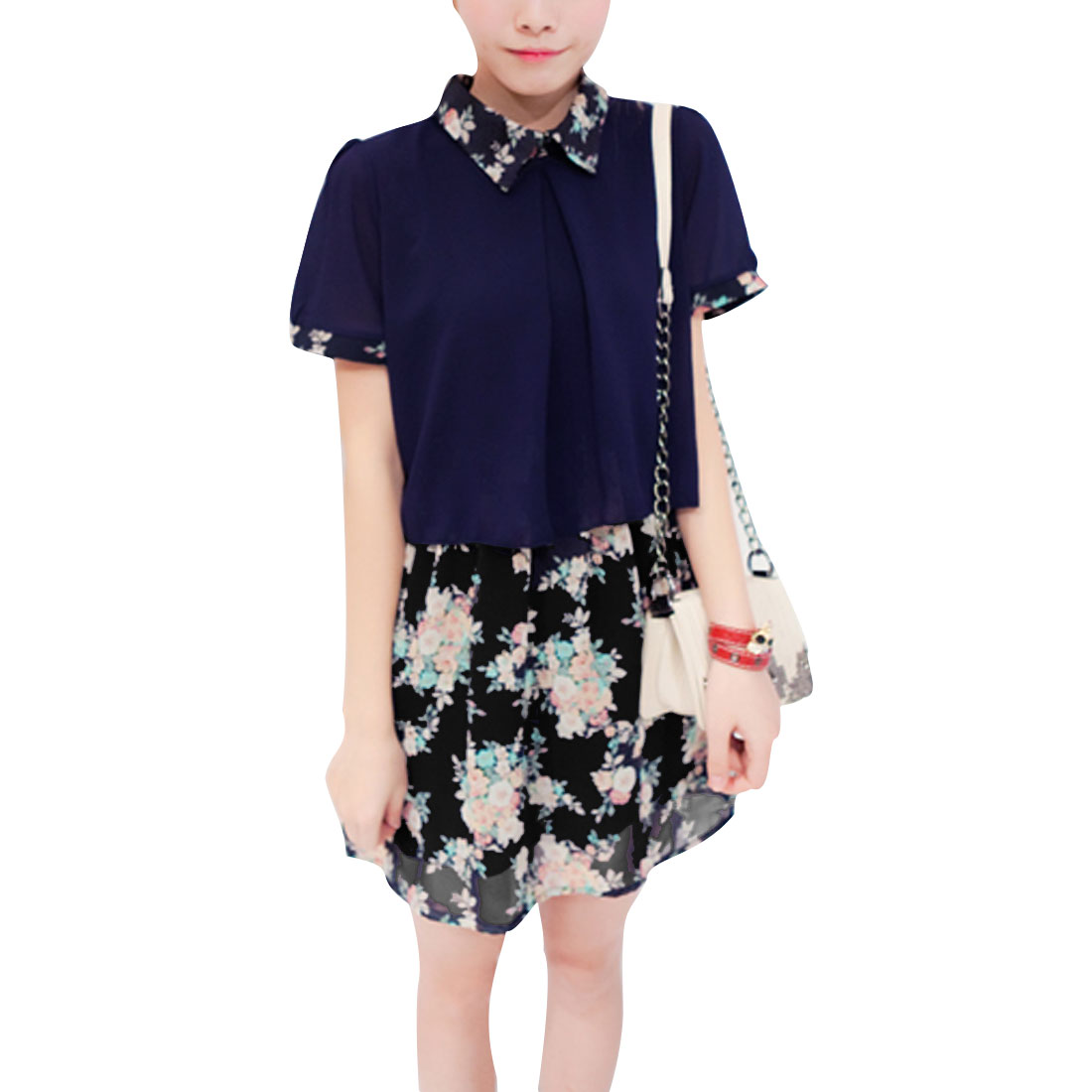 Woman Doll Collar Cropped Dark Blue Tops w Floral Pattern Mini Skirt